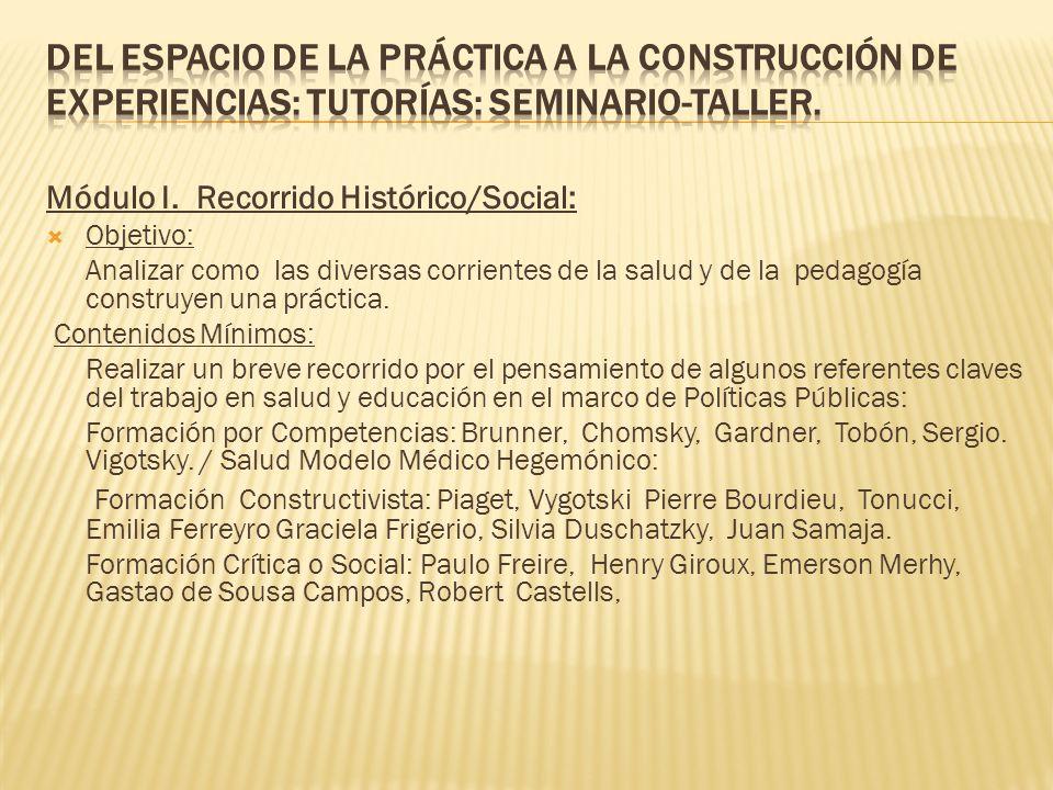 Del Espacio de la práctica a la construcción de Experiencias: Tutorías: Seminario-Taller.
