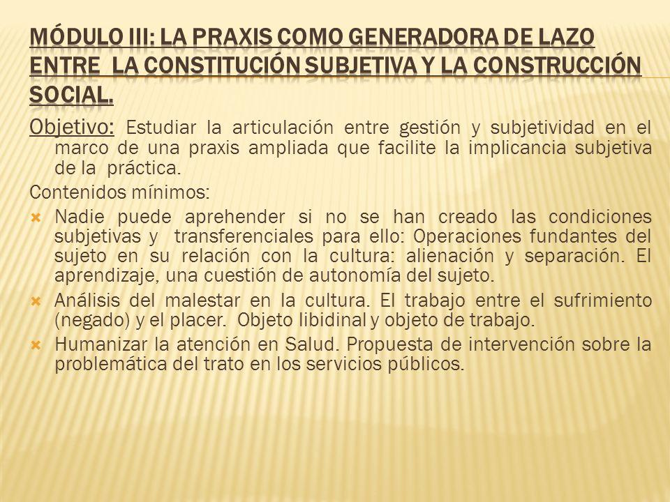 Módulo III: La Praxis como generadora de lazo entre la constitución subjetiva y la construcción social.