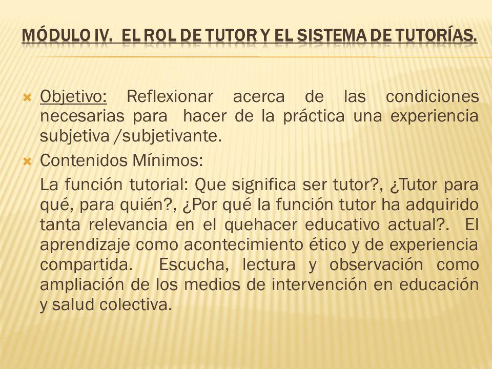 Módulo IV. El rol de tutor y el sistema de tutorías.