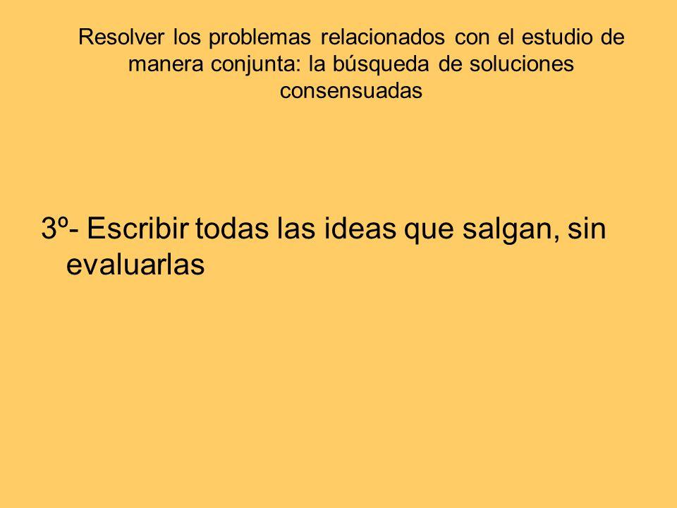 3º- Escribir todas las ideas que salgan, sin evaluarlas