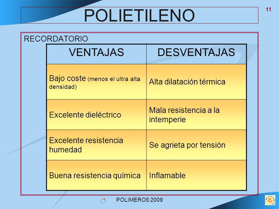 POLIETILENO VENTAJAS DESVENTAJAS RECORDATORIO