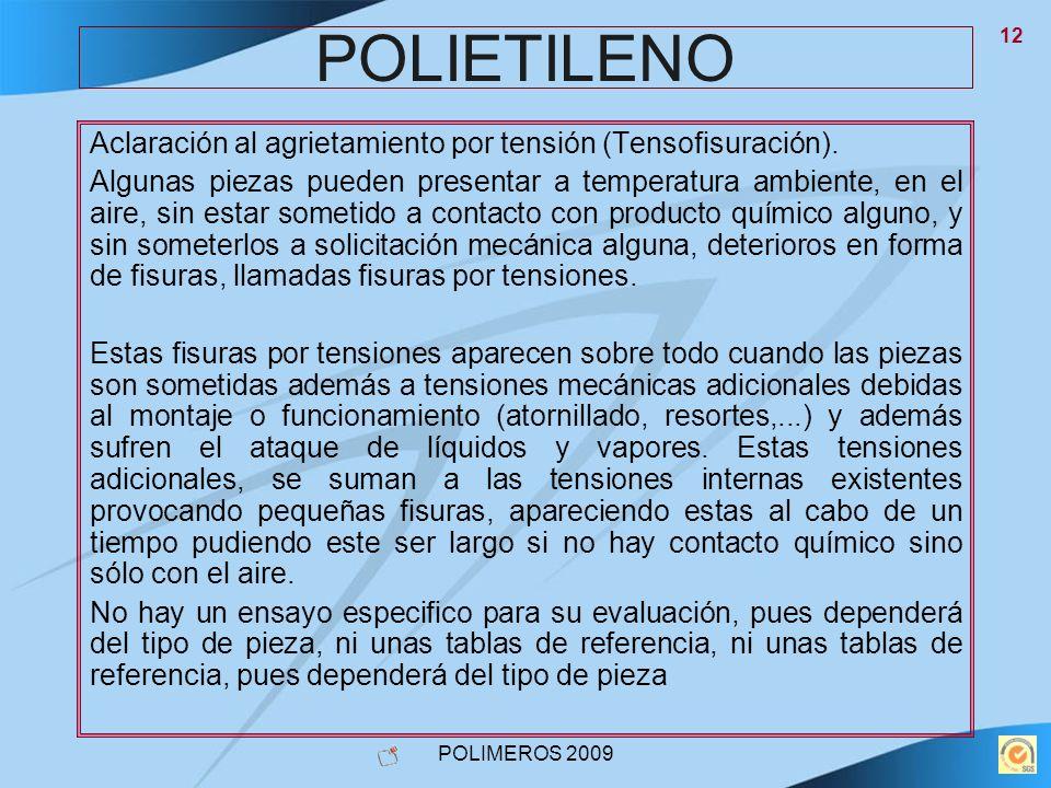 POLIETILENO Aclaración al agrietamiento por tensión (Tensofisuración).