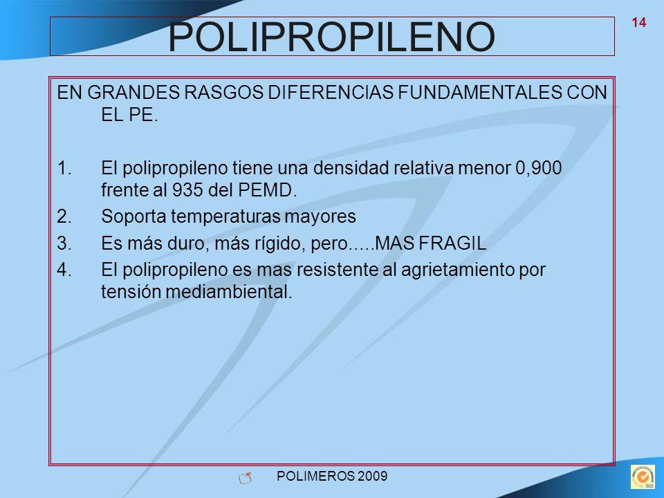 POLIPROPILENO EN GRANDES RASGOS DIFERENCIAS FUNDAMENTALES CON EL PE.