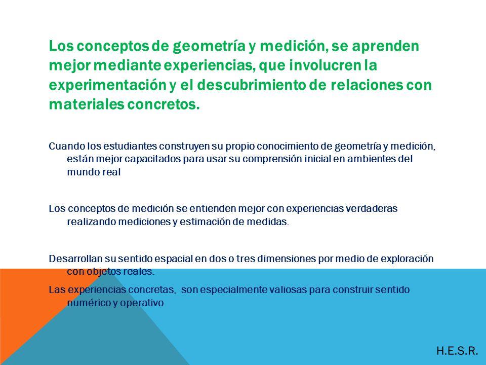 Los conceptos de geometría y medición, se aprenden mejor mediante experiencias, que involucren la experimentación y el descubrimiento de relaciones con materiales concretos.