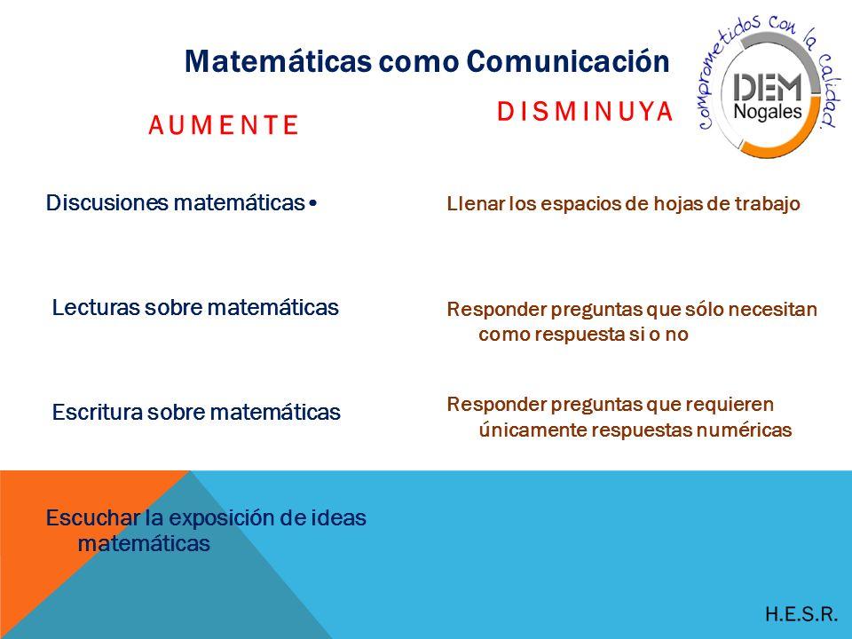 Matemáticas como Comunicación