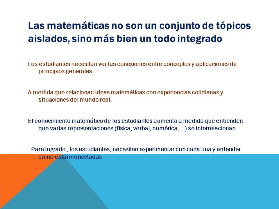 Las matemáticas no son un conjunto de tópicos aislados, sino más bien un todo integrado