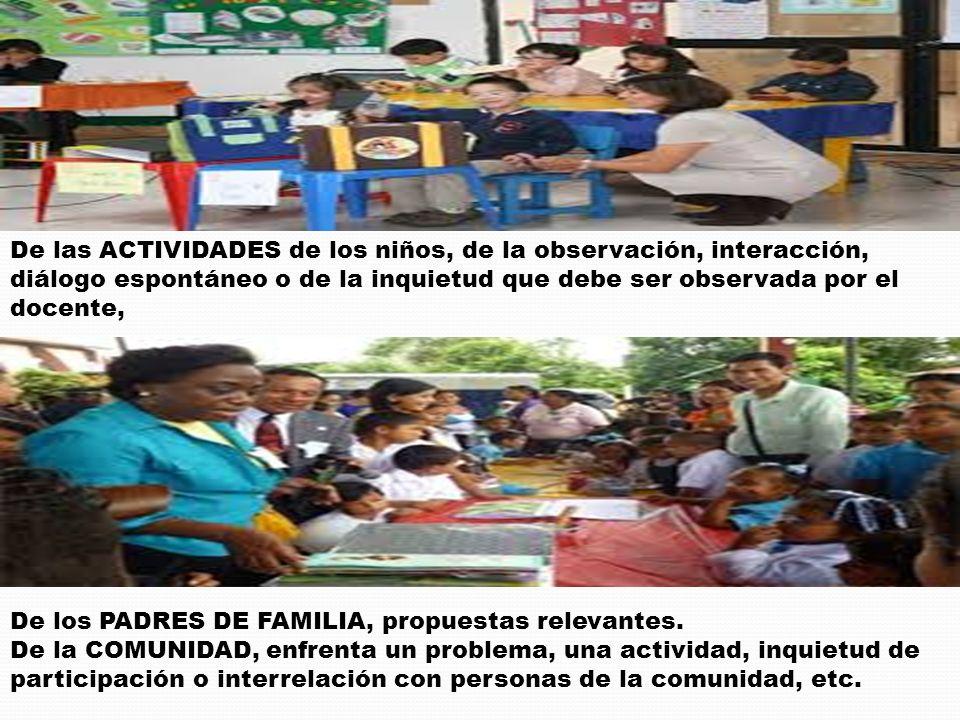 De las ACTIVIDADES de los niños, de la observación, interacción, diálogo espontáneo o de la inquietud que debe ser observada por el docente,