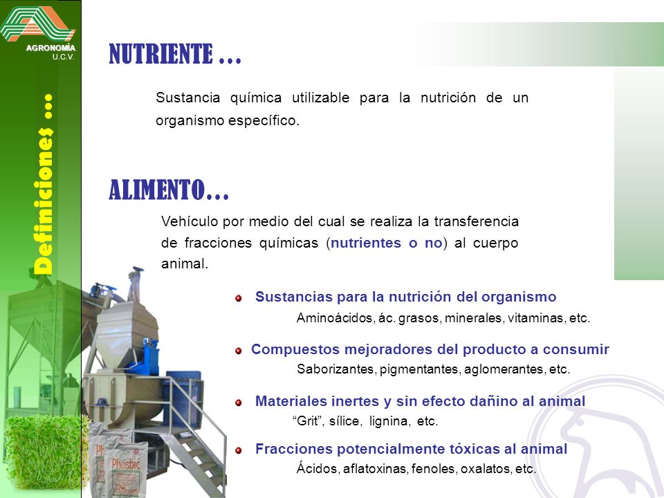 NUTRIENTE … ALIMENTO… Definiciones …