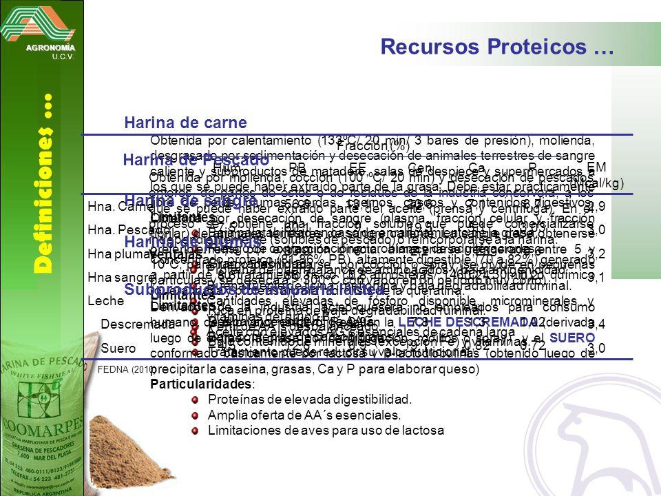Definiciones … Recursos Proteicos … Harina de carne Harina de Pescado