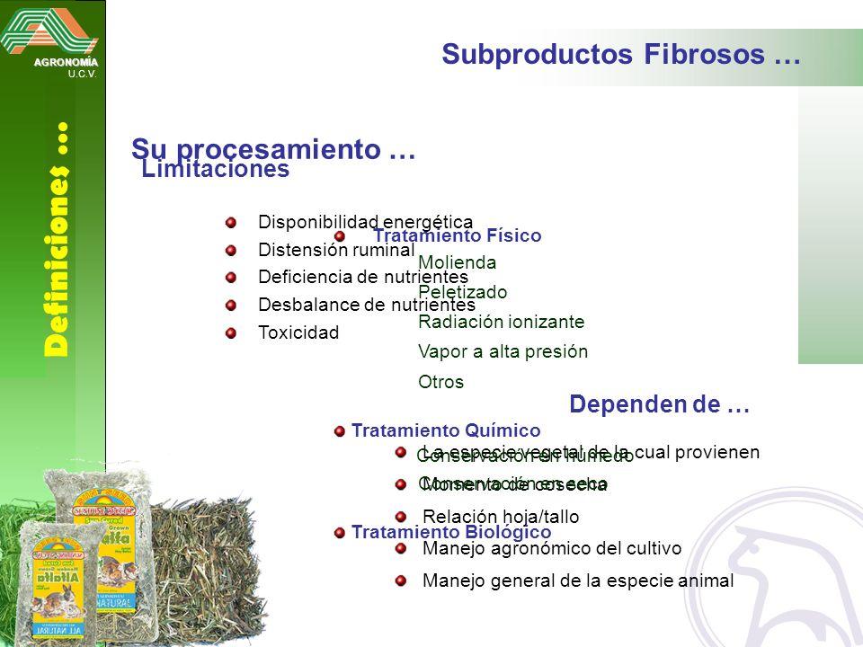 Definiciones … Subproductos Fibrosos … Su procesamiento … Limitaciones