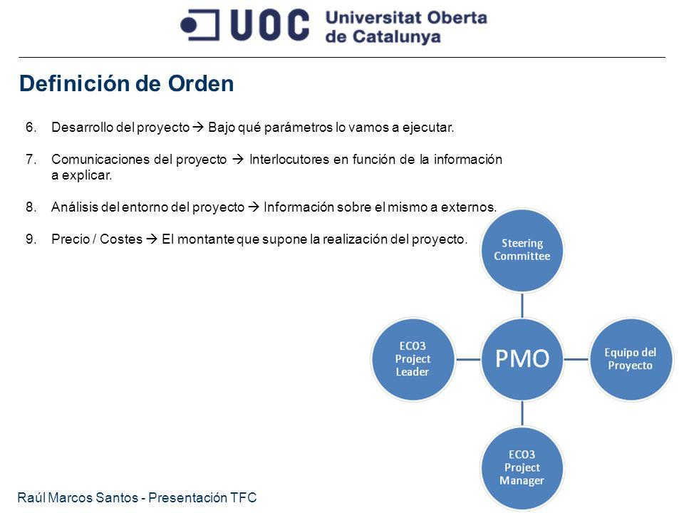 Definición de Orden Desarrollo del proyecto  Bajo qué parámetros lo vamos a ejecutar.