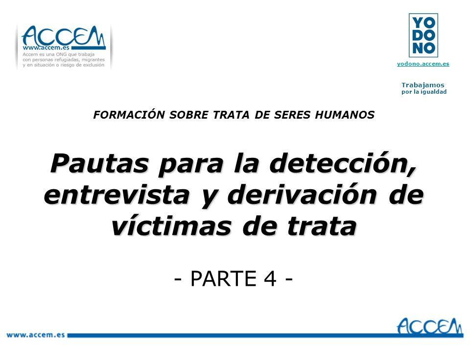 Pautas para la detección, entrevista y derivación de víctimas de trata