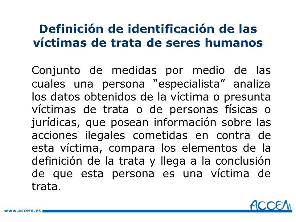 Definición de identificación de las víctimas de trata de seres humanos