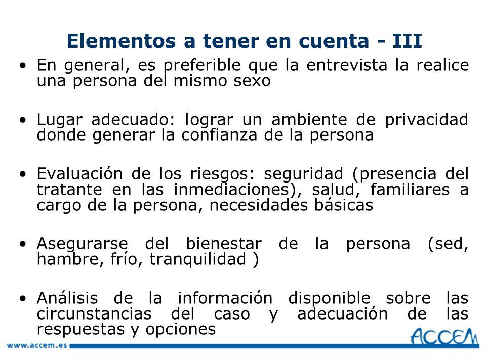 Elementos a tener en cuenta - III