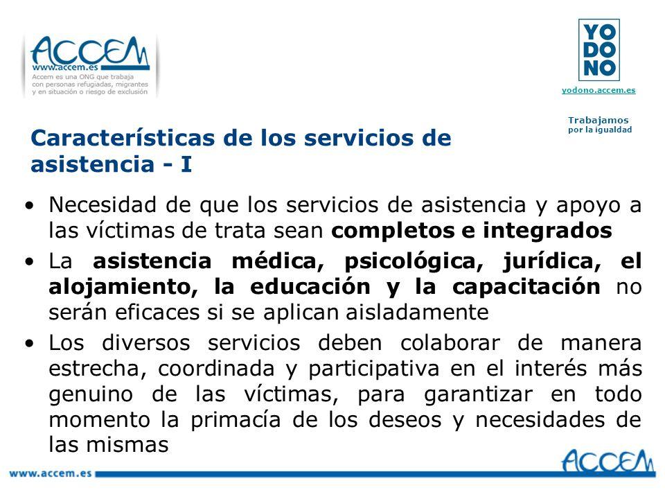 Características de los servicios de asistencia - I