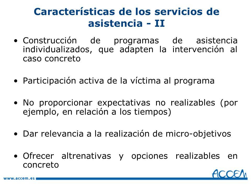 Características de los servicios de asistencia - II