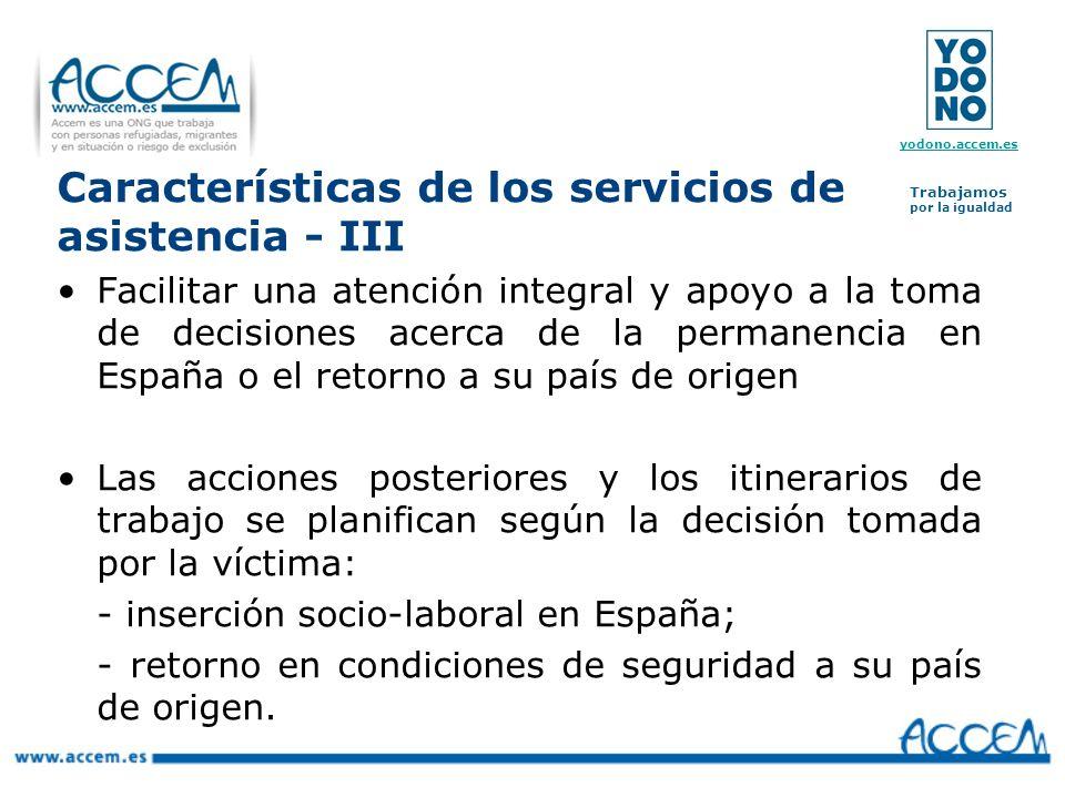 Características de los servicios de asistencia - III