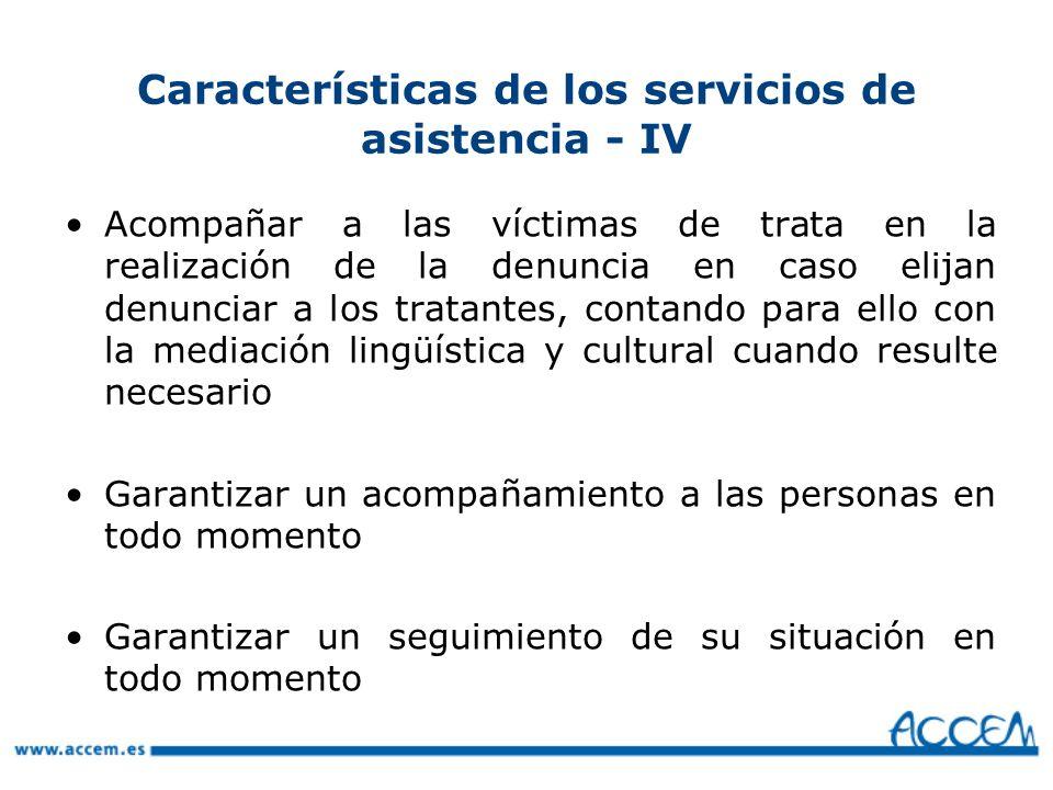 Características de los servicios de asistencia - IV