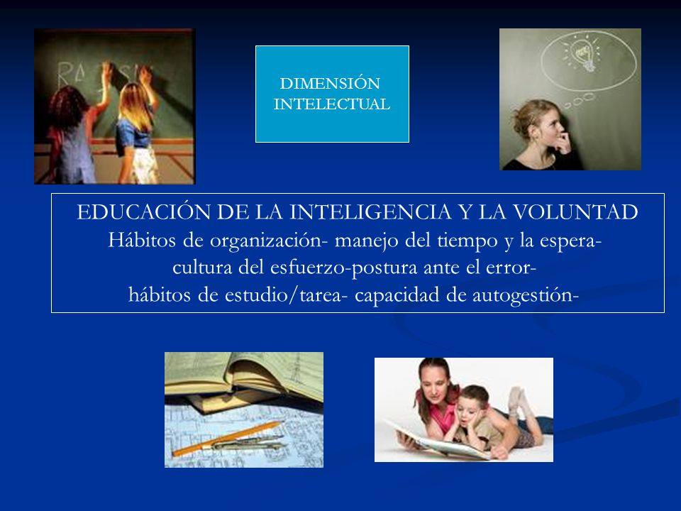 EDUCACIÓN DE LA INTELIGENCIA Y LA VOLUNTAD