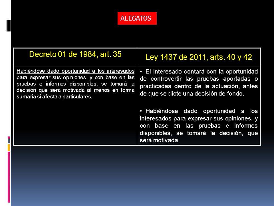ALEGATOS Decreto 01 de 1984, art. 35 Ley 1437 de 2011, arts. 40 y 42