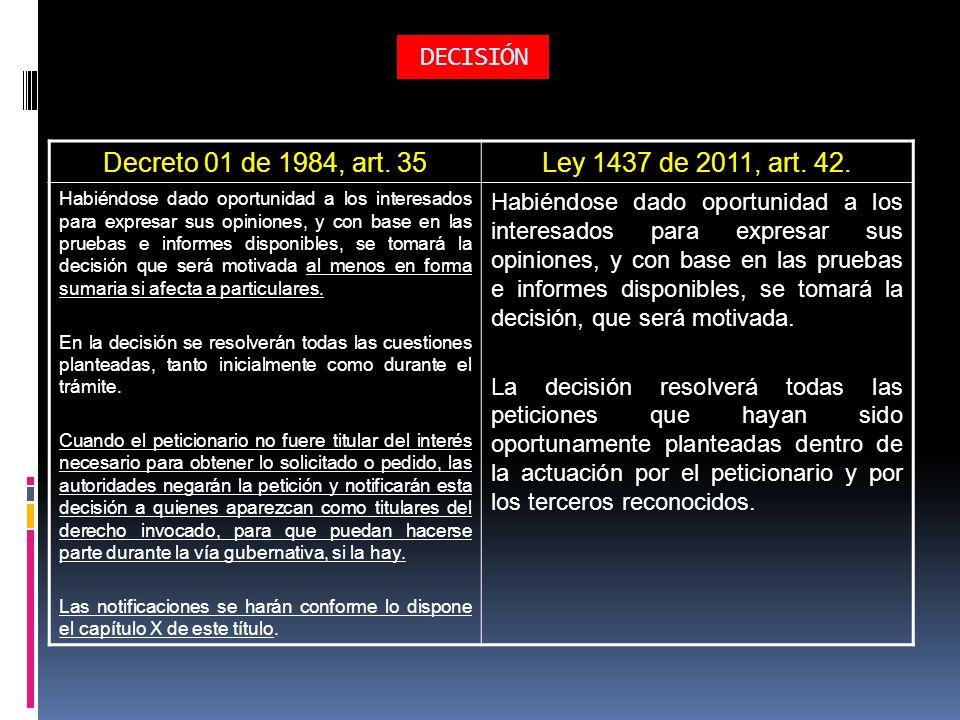DECISIÓN Decreto 01 de 1984, art. 35 Ley 1437 de 2011, art. 42.