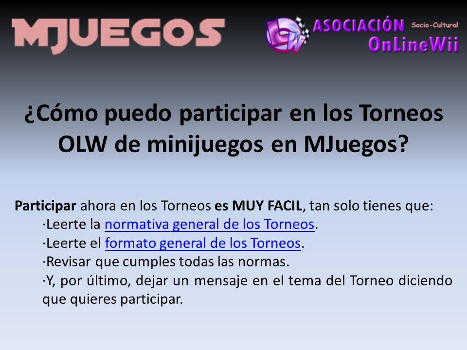 ¿Cómo puedo participar en los Torneos OLW de minijuegos en MJuegos