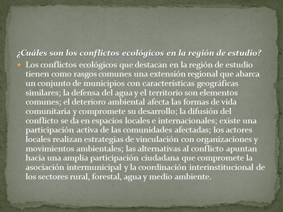 ¿Cuáles son los conflictos ecológicos en la región de estudio