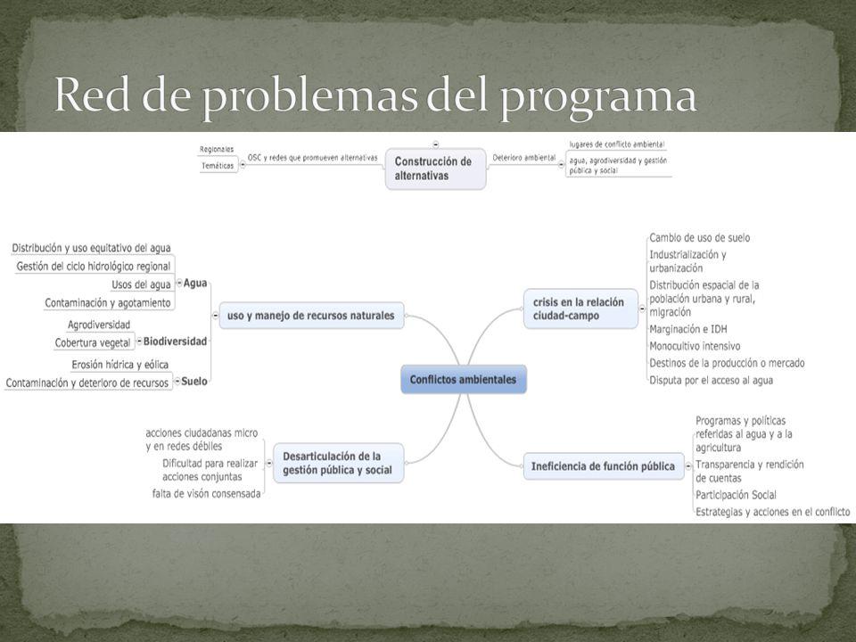 Red de problemas del programa