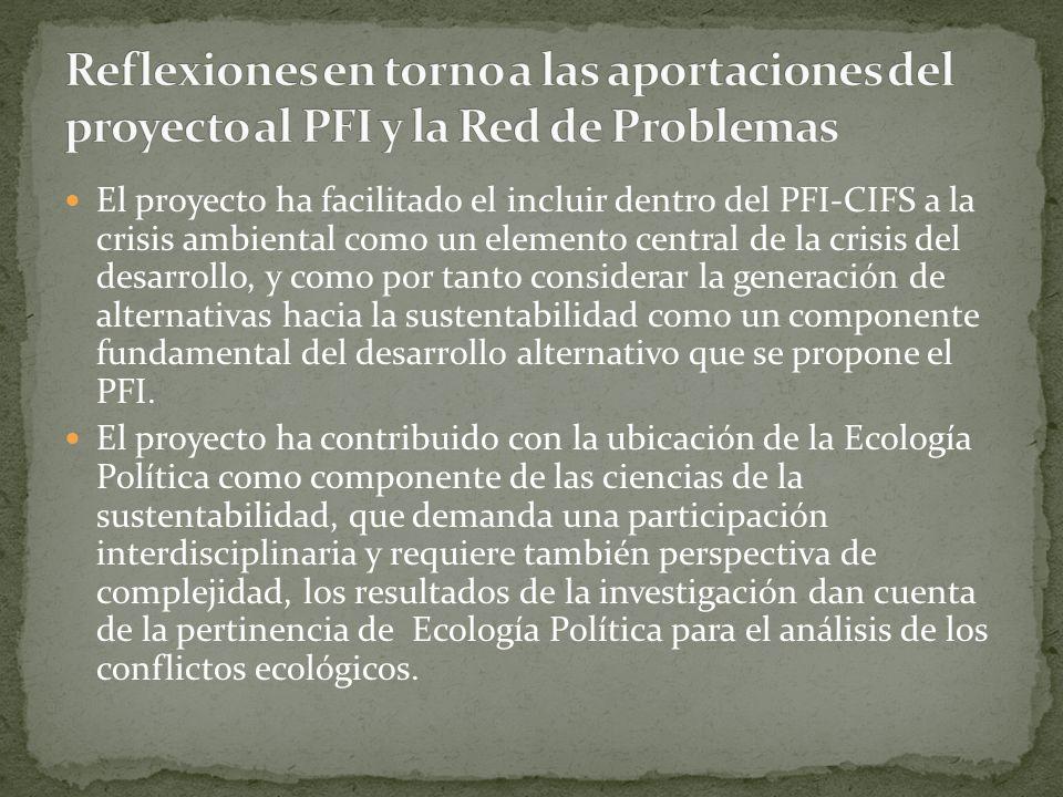 Reflexiones en torno a las aportaciones del proyecto al PFI y la Red de Problemas