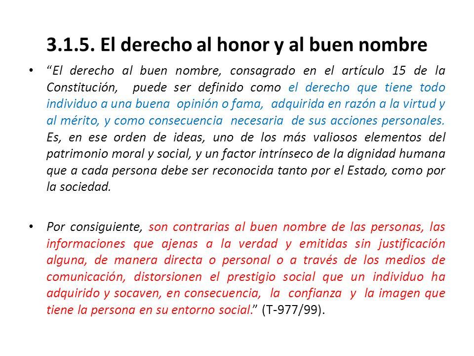3.1.5. El derecho al honor y al buen nombre