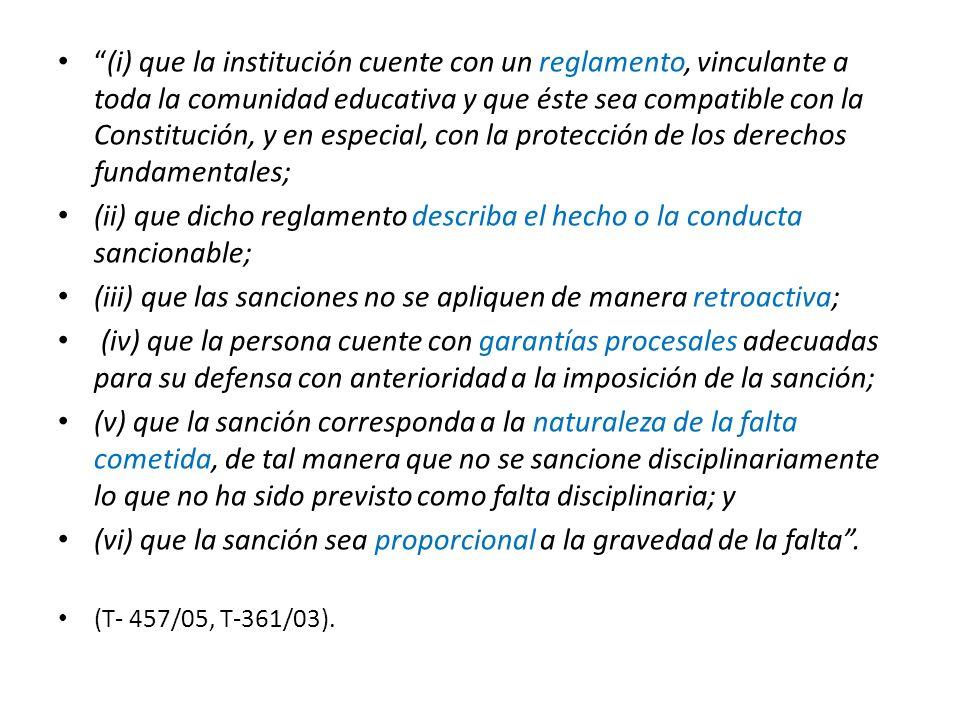 (ii) que dicho reglamento describa el hecho o la conducta sancionable;