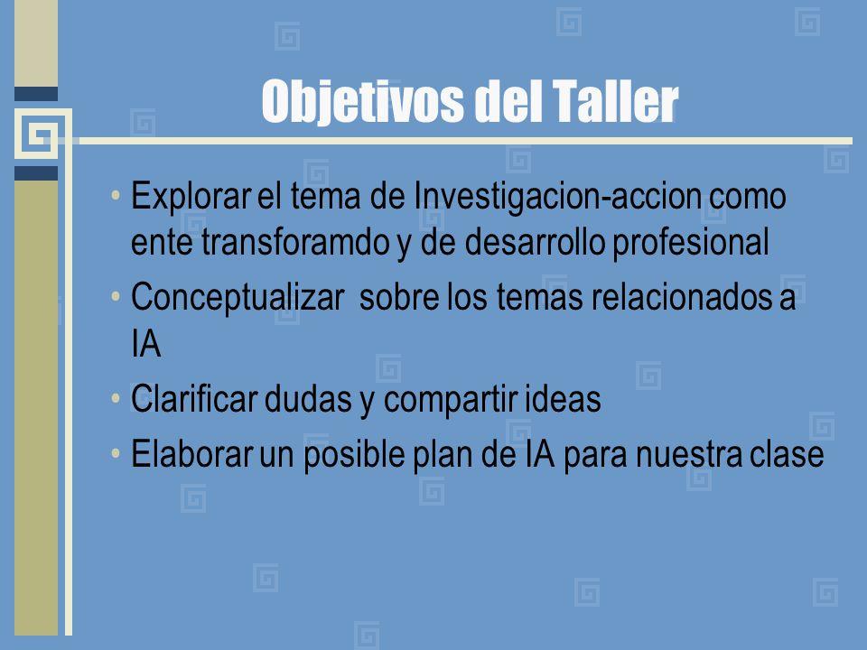 Objetivos del Taller Explorar el tema de Investigacion-accion como ente transforamdo y de desarrollo profesional.