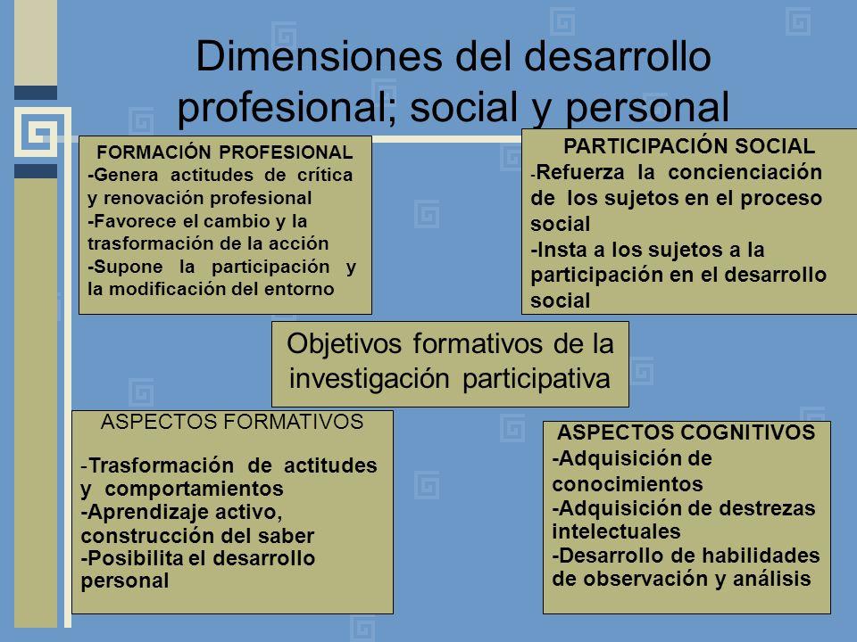 Dimensiones del desarrollo profesional; social y personal