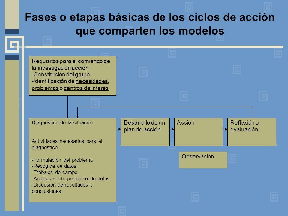 Fases o etapas básicas de los ciclos de acción que comparten los modelos