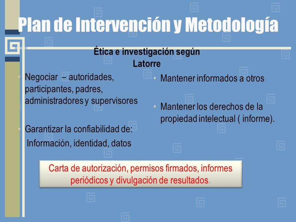 Plan de Intervención y Metodología