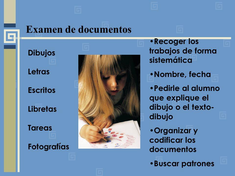 Examen de documentos Recoger los trabajos de forma sistemática Dibujos
