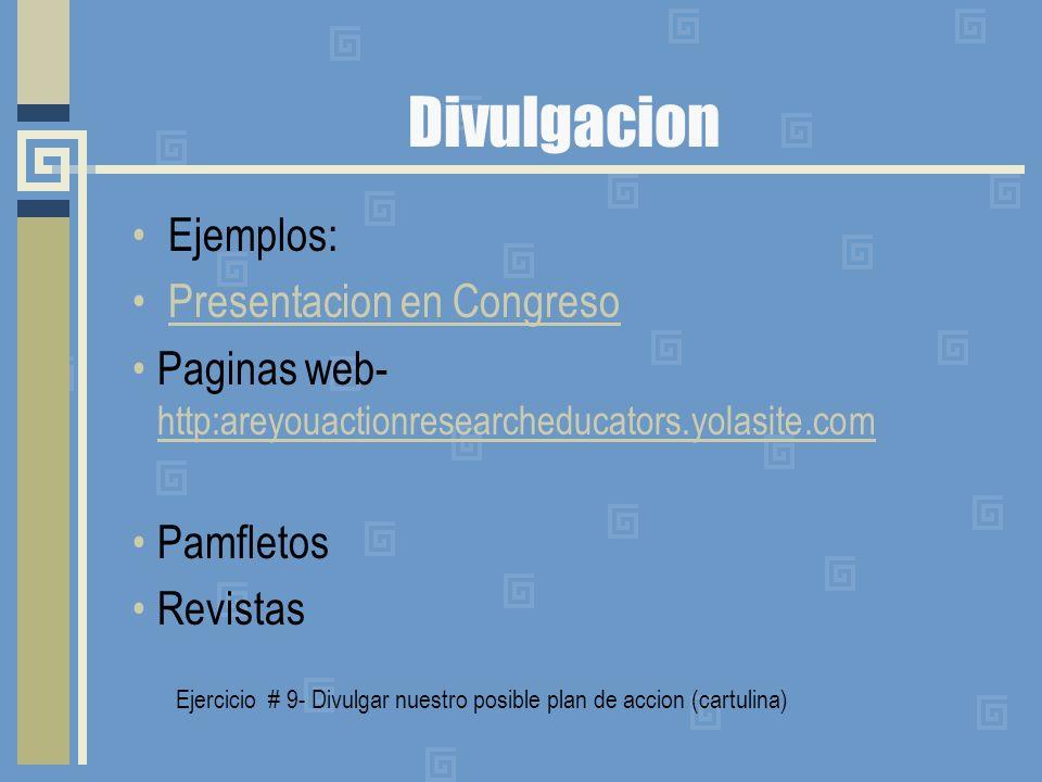 Divulgacion Ejemplos: Presentacion en Congreso