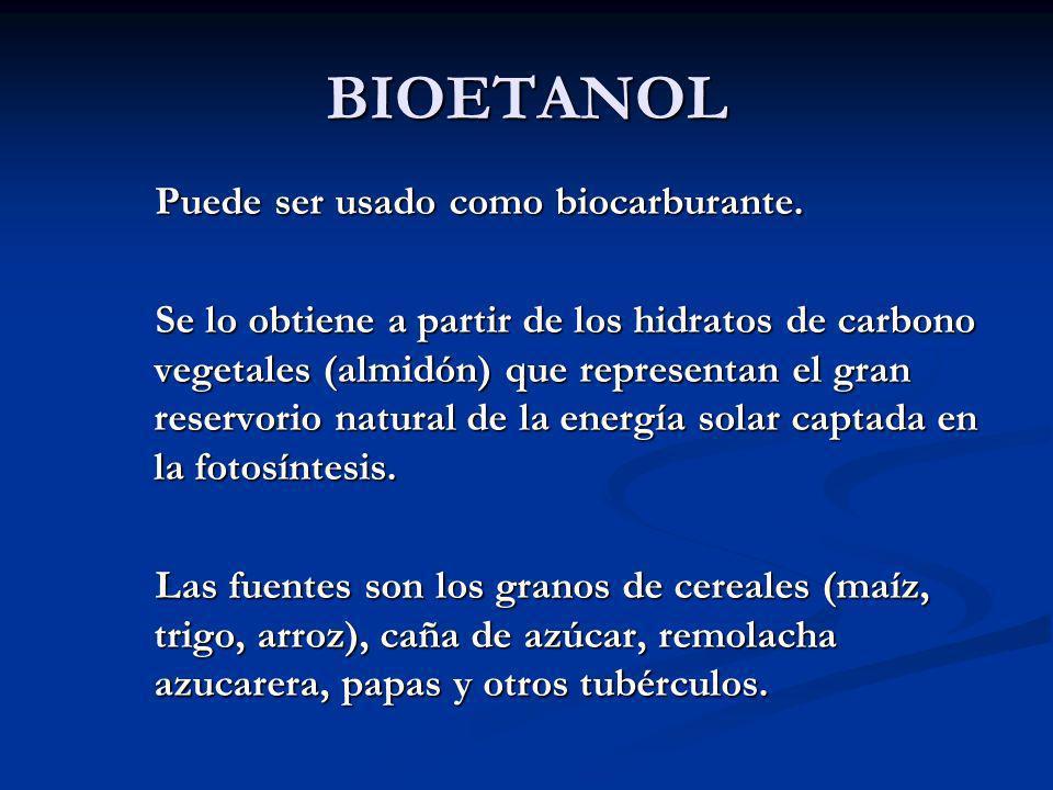 BIOETANOL Puede ser usado como biocarburante.