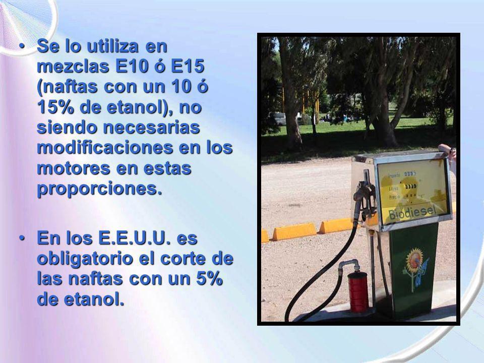 Se lo utiliza en mezclas E10 ó E15 (naftas con un 10 ó 15% de etanol), no siendo necesarias modificaciones en los motores en estas proporciones.
