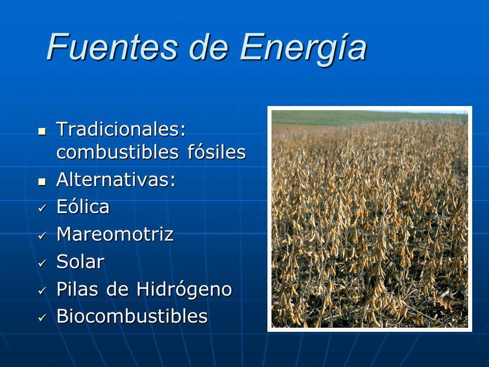 Fuentes de Energía Tradicionales: combustibles fósiles Alternativas: