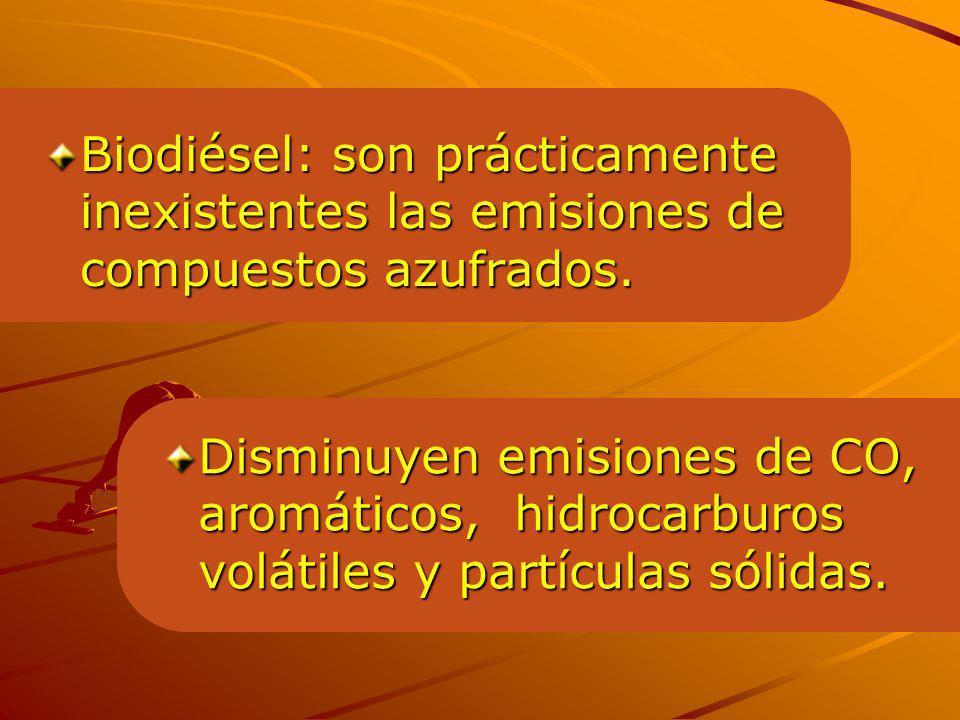 Biodiésel: son prácticamente inexistentes las emisiones de compuestos azufrados.