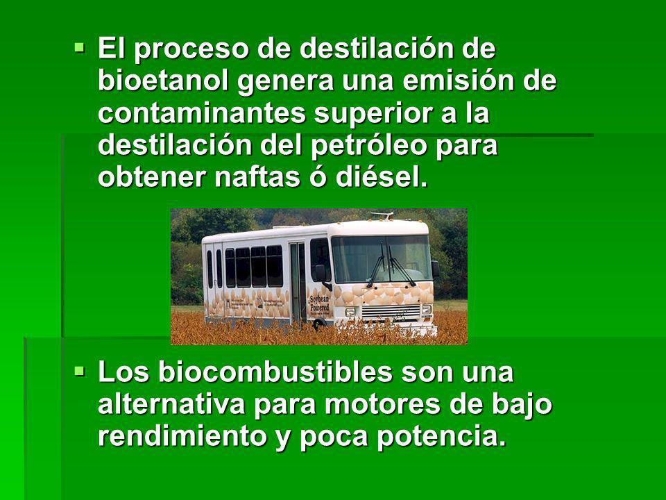 El proceso de destilación de bioetanol genera una emisión de contaminantes superior a la destilación del petróleo para obtener naftas ó diésel.