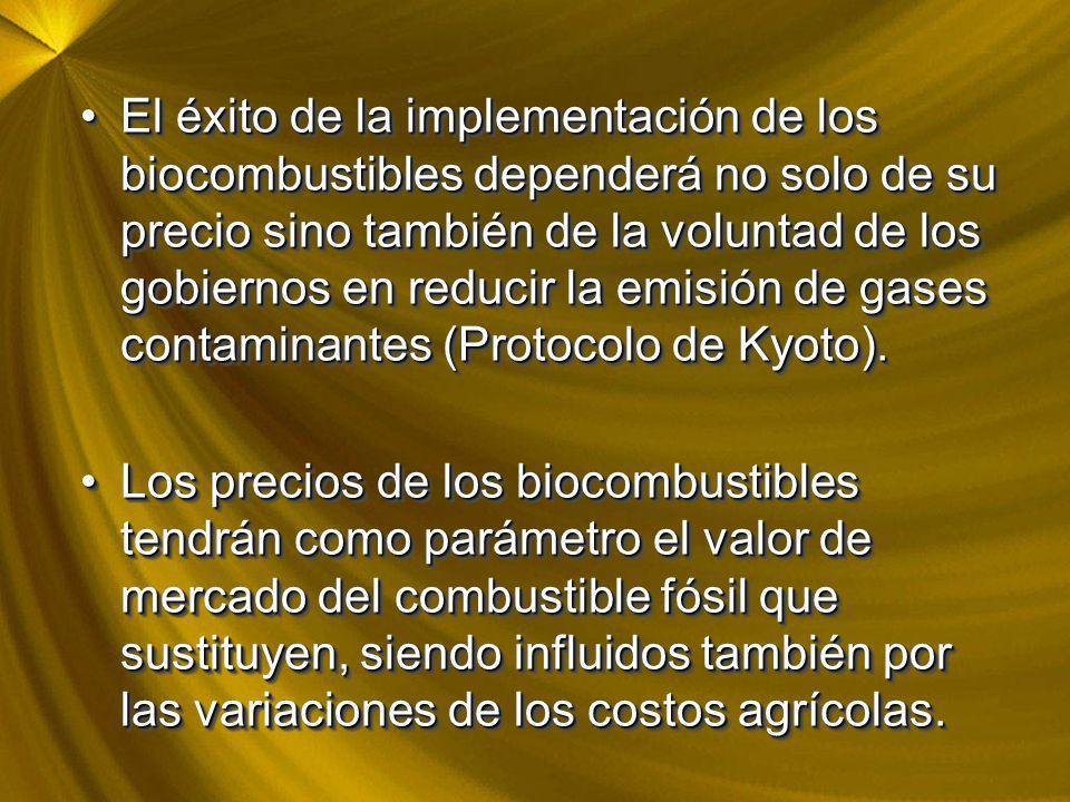 El éxito de la implementación de los biocombustibles dependerá no solo de su precio sino también de la voluntad de los gobiernos en reducir la emisión de gases contaminantes (Protocolo de Kyoto).