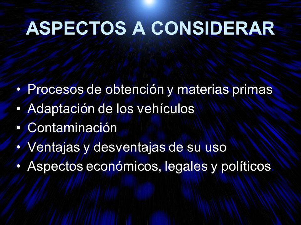 ASPECTOS A CONSIDERAR Procesos de obtención y materias primas