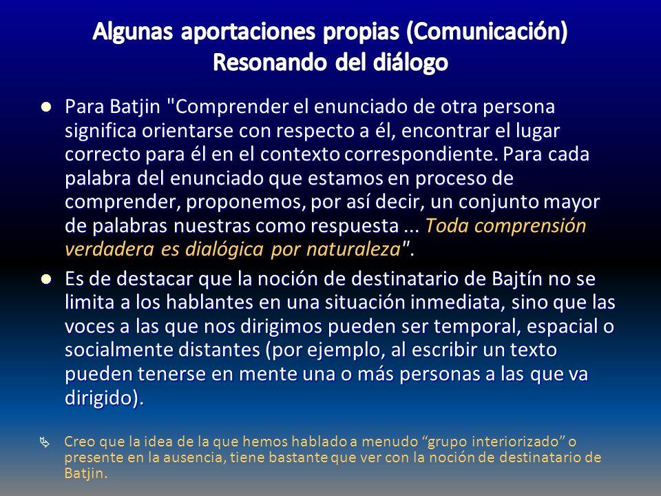 Algunas aportaciones propias (Comunicación) Resonando del diálogo