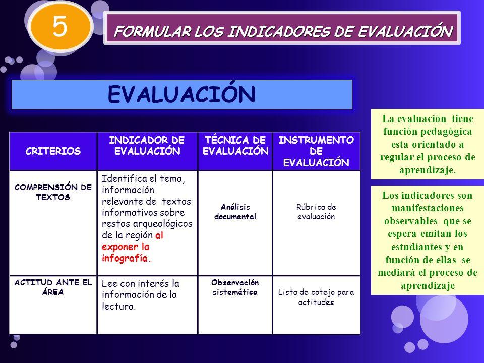 5 EVALUACIÓN FORMULAR LOS INDICADORES DE EVALUACIÓN