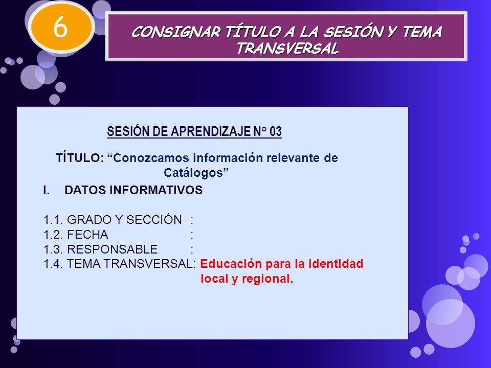 6 CONSIGNAR TÍTULO A LA SESIÓN Y TEMA TRANSVERSAL