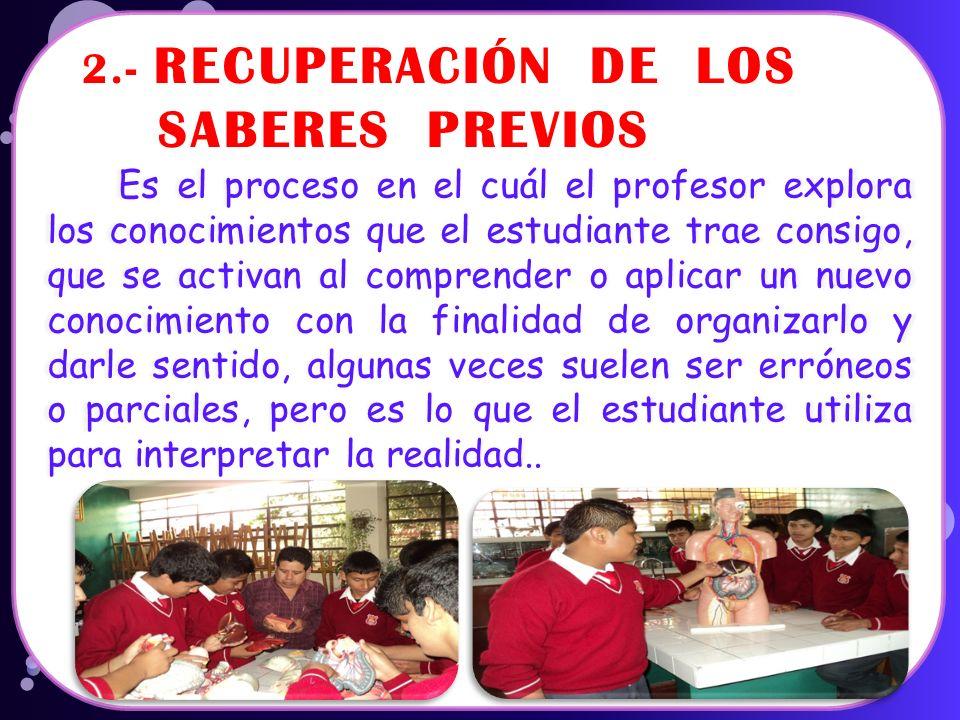 2.- RECUPERACIÓN DE LOS SABERES PREVIOS