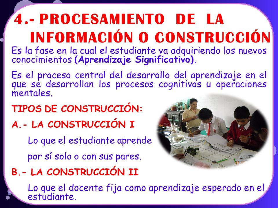 4.- PROCESAMIENTO DE LA INFORMACIÓN O CONSTRUCCIÓN