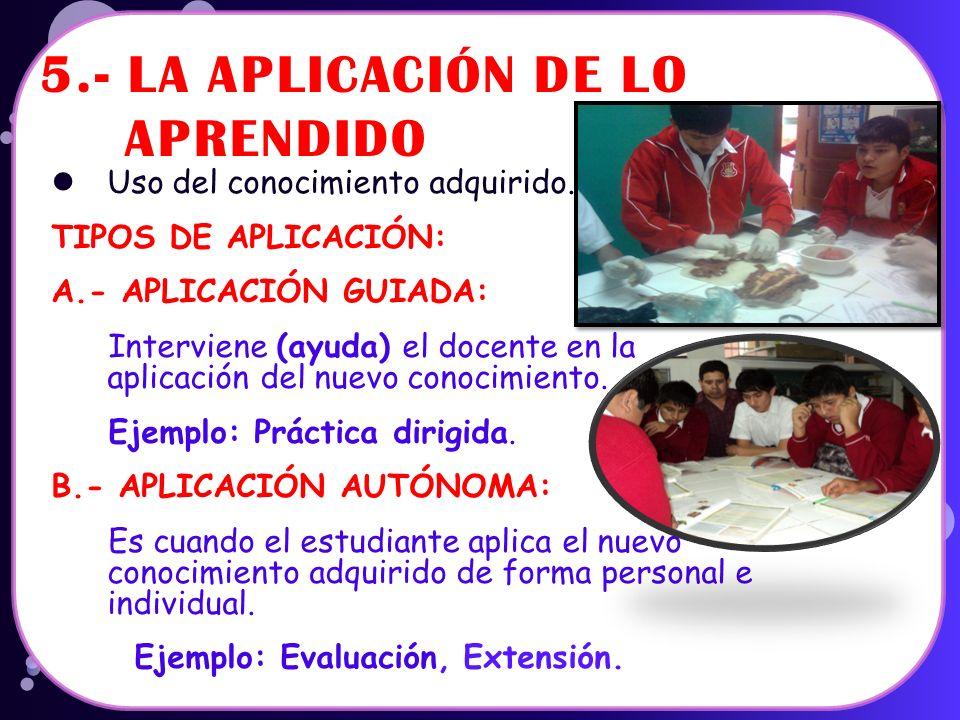 5.- LA APLICACIÓN DE LO APRENDIDO